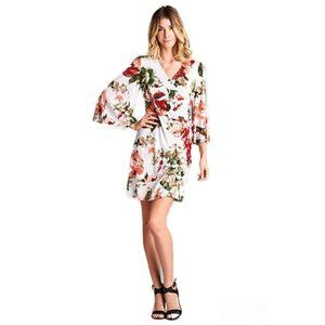 Red White Floral Bell Sleeve Wrap Mini Dress NEW M